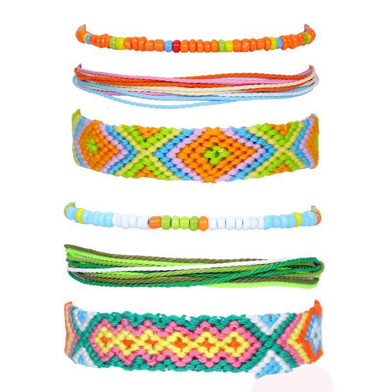 Fashion new style popular girl beaded bracelet cotton rope wax thread hand-woven bracelet 3 piece set