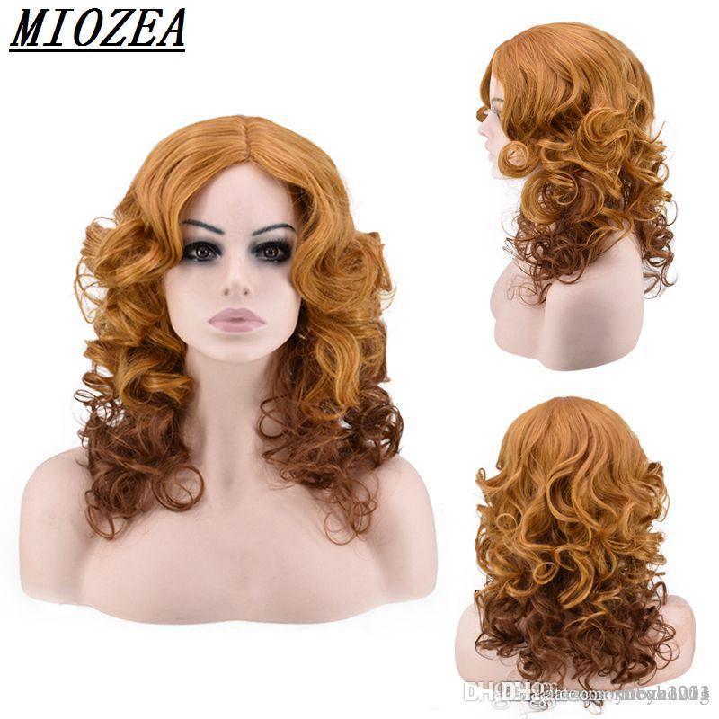 Kısa Kıvırcık Sentetik saç Peruk Yüksek Sıcaklık Elyaf Kahverengi / Kadınlar Peruk için koyu kahverengi 14inch