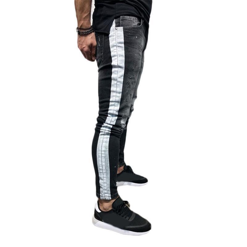 2018 새로운 남성 ISHINE 브랜드 청바지 패션 남성 캐주얼 슬림 피트 스키니 청바지 남성 블랙 핫 판매 남성 바지
