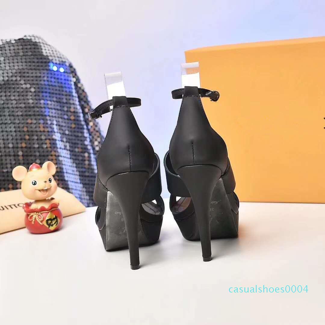 top strass grau sexy fivela de sapatos de salto alto Sapatos mulheres do desenhador sandaks panturrilha pacote de origem couro de tamanho 12 centímetros 35 tradingbear C04