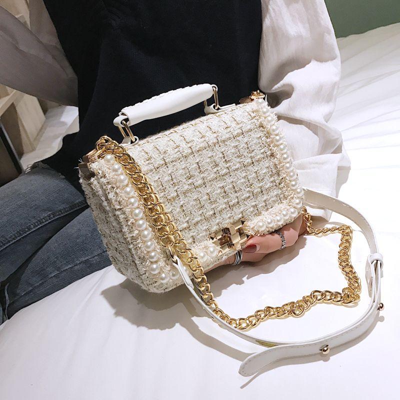 perlas de la moda las mujeres de lana bolsas de hombro de los bolsos de las señoras de las cadenas de carteras de invierno crossbody bolsa pequeña solapa del saco 2019