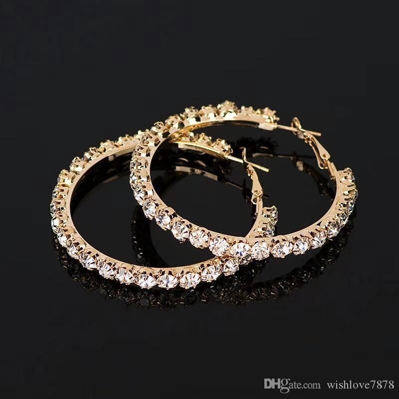kadınlar lüks tasarımcı elmas bling için 55mm elmas çember küpe huggie küpe daire altın gümüş kore tarzı takı
