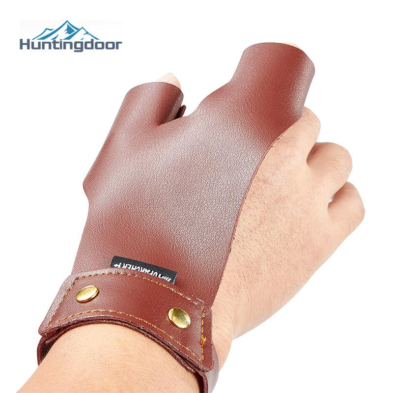 Brown Cowhide Finger Protect Glove Guard Traditional Leather Left Right Hand Thumb Index Fingers For Bow Arrow