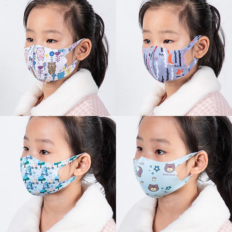 I bambini della maschera di protezione del ghiaccio panno di seta lavabili riutilizzabili mascherina mascherine di stampa del fumetto della polvere di protezione del lato traspirante HHA1405