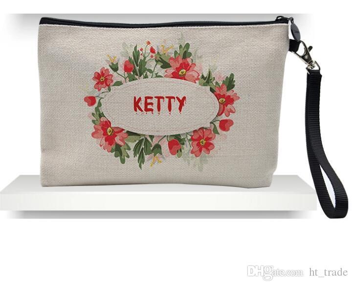 50 adet 23 cm x 16 cm Süblimasyon Keten kozmetik çantaları DIY kadınlar boş düz fermuar makyaj çantası telefon debriyaj çanta