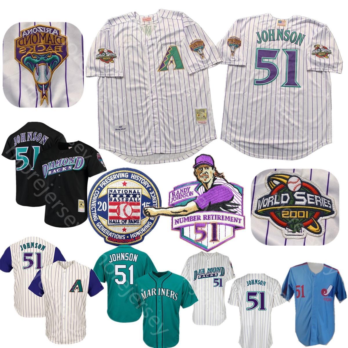 랜디 존슨 뉴저지 2001 WS 패치 2015 야구 명예의 전당의 흰색 핀 스트라이프 블랙 퍼플 홈 항상 곁에 남성 크기 M-3XL