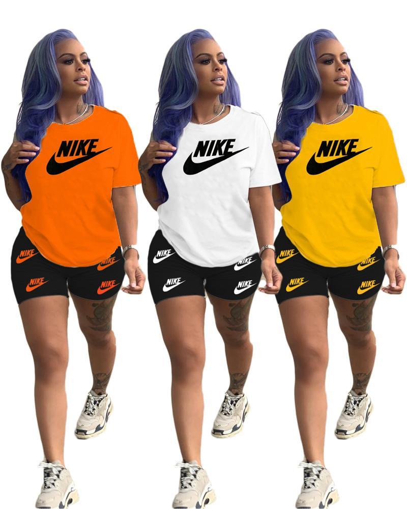 Femmes Designer Brand Vêtements d'été Ensemble 2 pièces à manches courtes T-Shirt + Shorts Lettre Sport Costume Équipage Tenues cou Mode de jogging Costume 3152