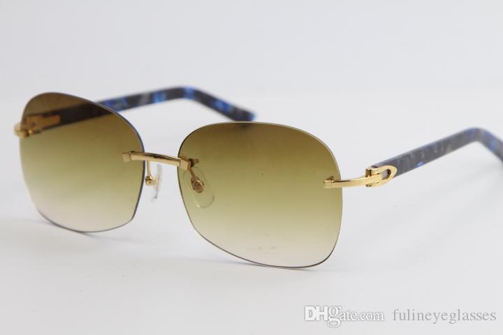판매 무테 금속 선글라스 대리석 블루 판자 스타일 아웃 도어 디자인 클래식 모델 안경 8100908 남성 골드 프레임 남성 여성 안경