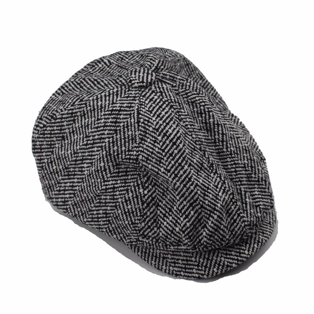 Mens Classic Herringbone Tweed Wool Blend Newsboy Ivy Hat Men and Women Hats Gorras Planas Octagonal Cap