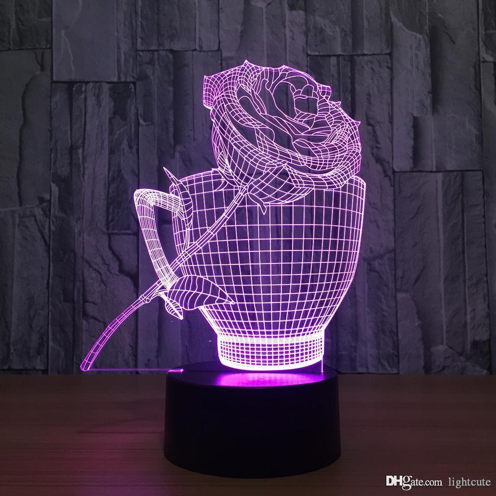 LED 램프 크리스마스 선물 커피 컵과 장미 램프 3D 7 컬러 비주얼 주도 야간 조명 아이들의 USB 표 Lampara 램프; 아기는 야간 조명 선물 잠자는