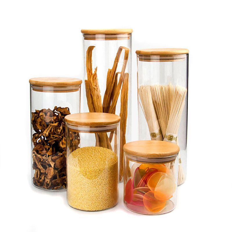 شفافة زجاج زجاجات تخزين المواد الغذائية العلب الفلين تغطية الجرار لزجاجات الرمل السائل الغذاء صديقة للبيئة زجاج مع غطاء الخيزران