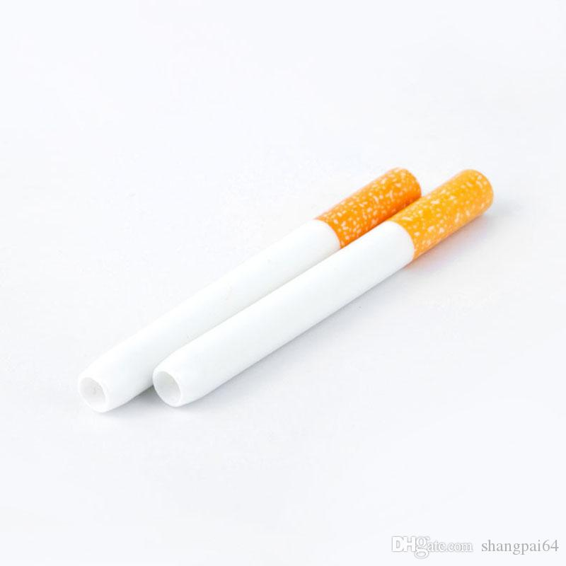 Ceramic Cigarette Hitter Cigarette Shape Smoking Pipes Yellow Filter Color 100pcs/box 78mm 55mm One Hitter Bat Metal Smoking Factory