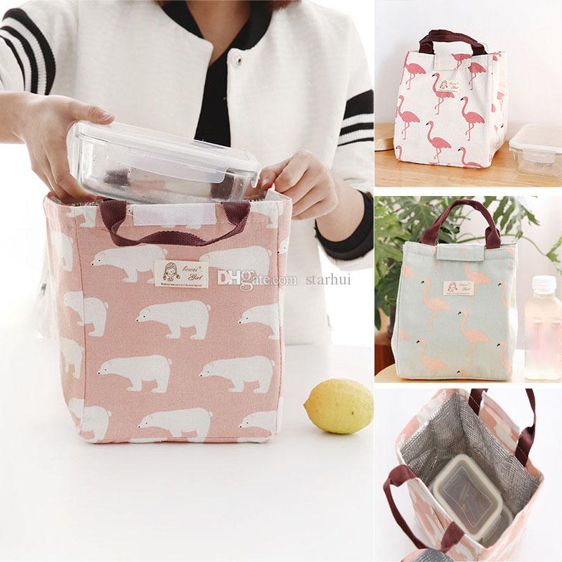 Lunch Boxes Bags Flamingo Bear Drawing Picnic Lunch Pouch Bag Baskets With String Home Organization WX9-392
