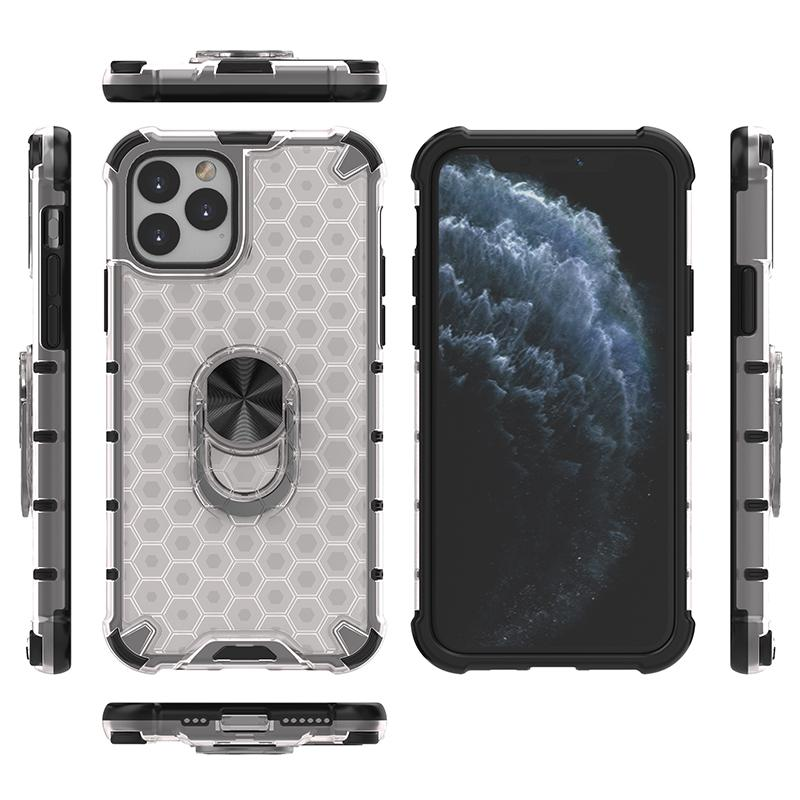 Ultra-Thin Honeycomb Car Holder Kickstand Phone Case for iPhone 11 Pro Case Transparent Armor Cover Skin