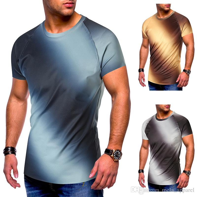 Streetwear Pocket Tshirt Cotton T Shirt Gradient Color Mens T-Shirts