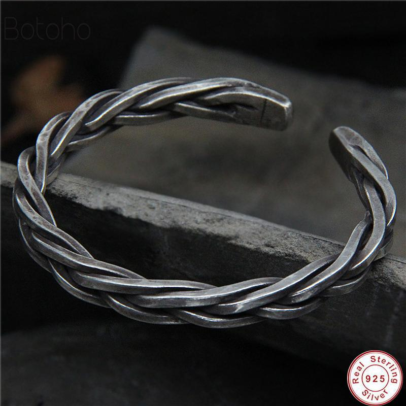 2020 Plata S925 Chiang Mai hecho a mano retro estilo tailandés de la vendimia de plata toque la cuerda macho y hembra de boca abierta regalo brazalete