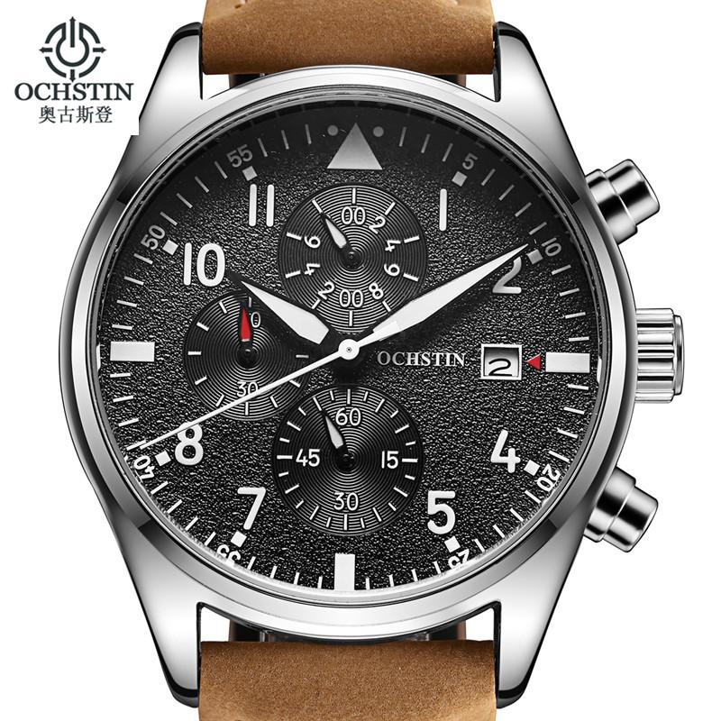 Relogio Masculino OCHSTIN Watch Men Business Chronograph Date Luminous Wristwatch Mens Leather Quartz Watch
