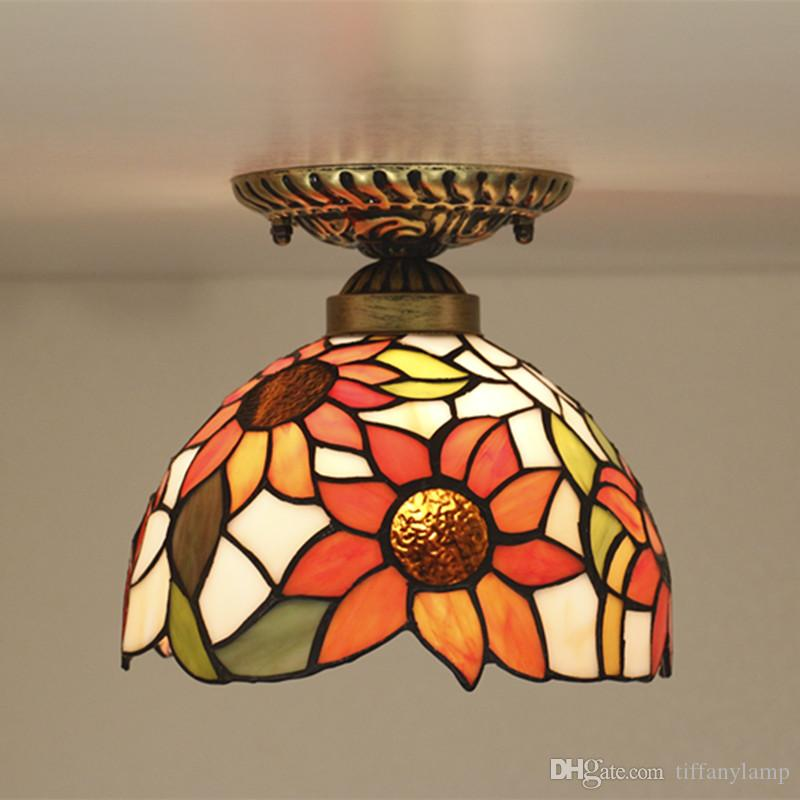 European Kitchen Ceiling Light Stairs Entrance Aisle Corridor Sunflower Light Living Room Bathroom Vintage LED Ceiling Lamp Stained Glass