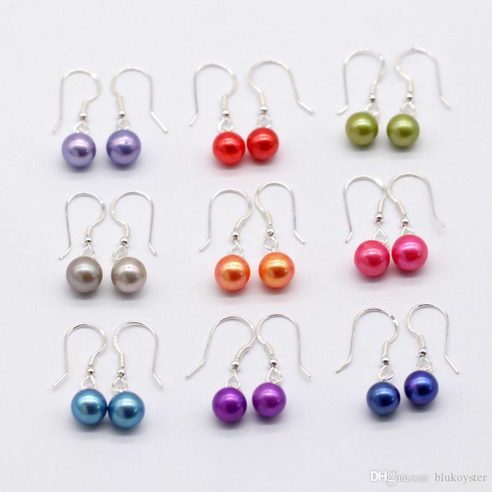 9 пара / Set Мода ювелирные изделия стерлингового серебра 925 Stud и падения Pearl серьги 66 цветов Пресноводные культивированный жемчуг серьги пара для женщин