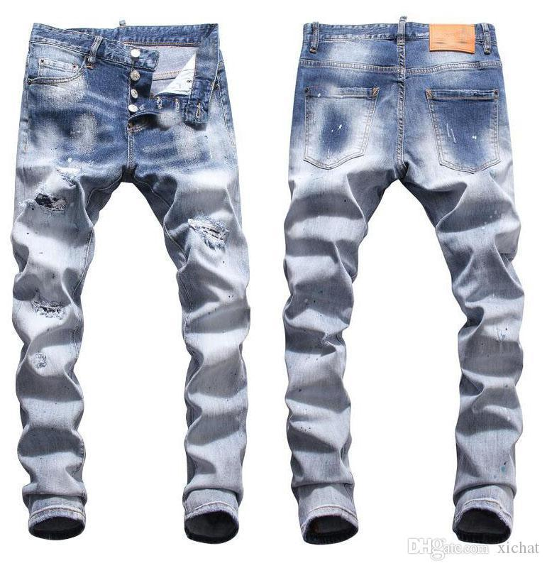 Tops Mens rasgado Luz Begar Azul Jeans Fashion Designer Slim Fit cintura baixa motociclista Denim Pants Hip Hop Pintado Calças NJ8080