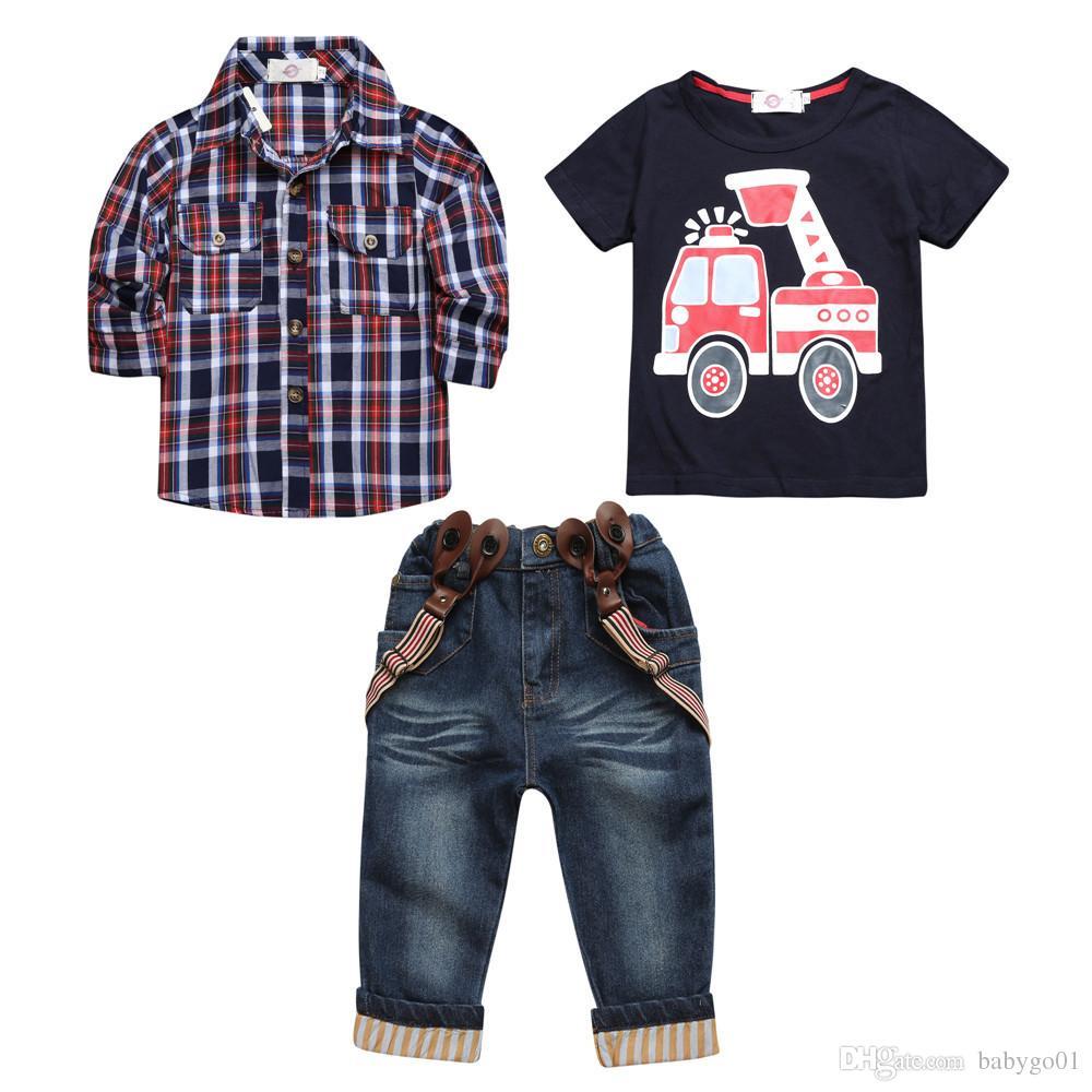2019 مجموعات من الملابس لربيع تناسب الصبي قميص طويل الأكمام منقوشة + جينز + مركبة الطباعة 3 قطع مجموعة