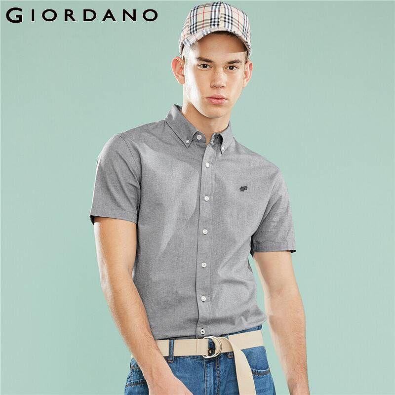 Giordano homens camiseta Embroideried gráfico Oxford Magro Camisa manga curta Turn Down Collar Soild Casual Camisas Hombre 01040487