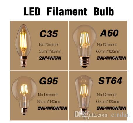 10 X E27 E14 4W 8W 12W Traditional Edison Shape Filament LED Bulb Light C35//A60
