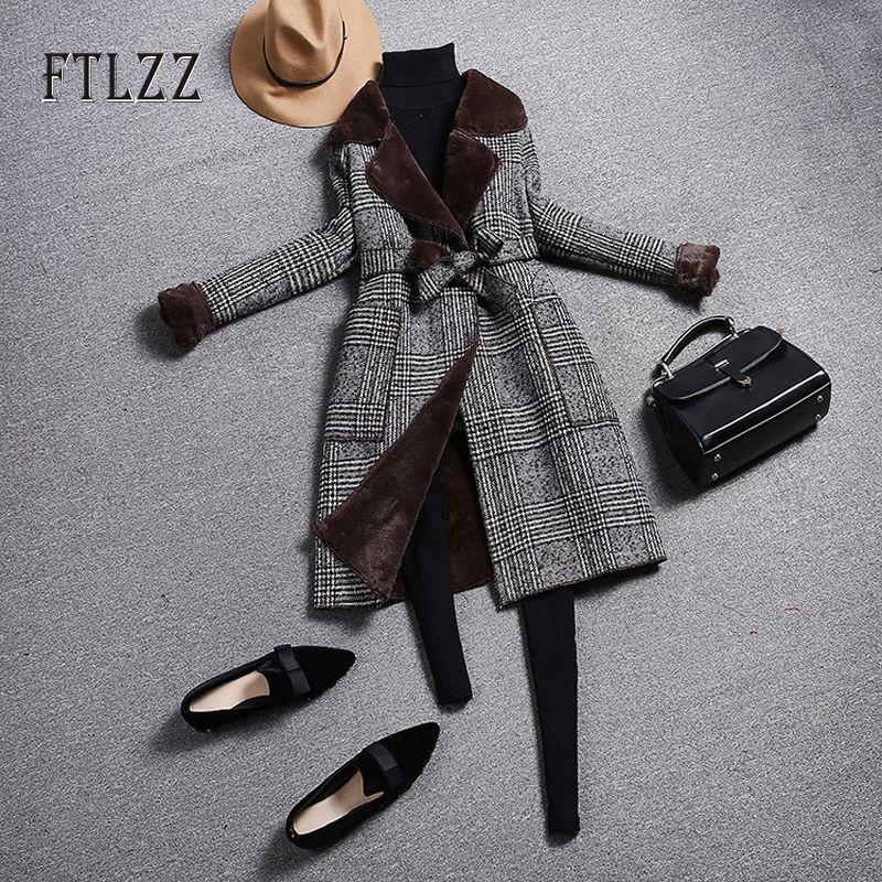 Moda Plaid Vintage casaco de lã Mulheres de Slim Belt Turndown Collar Coats senhoras coreano Outono Inverno Faux lã quente Liner Casacos V191029