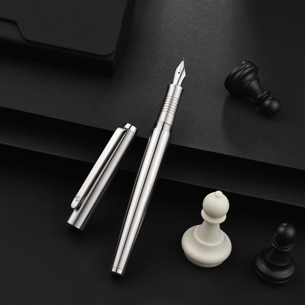 Hongdian 517S acero inoxidable del metal de plata pluma fuente EF / F / doblado plumín escritura excelente regalo para la tinta de la pluma de negocios Home Office