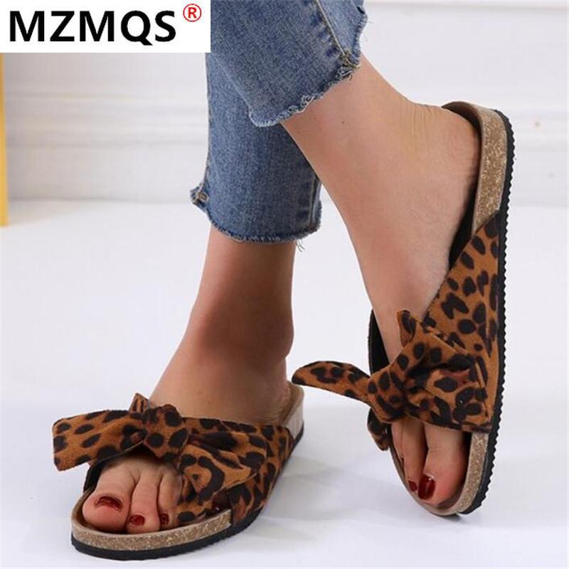 2020 Yeni Bayan Beach'in terlik yay düğüm Kalın Alt Sandalet Leopar Desenli Açık Terlik Kelime Ayakkabı Kadın Zapatos De Mujer