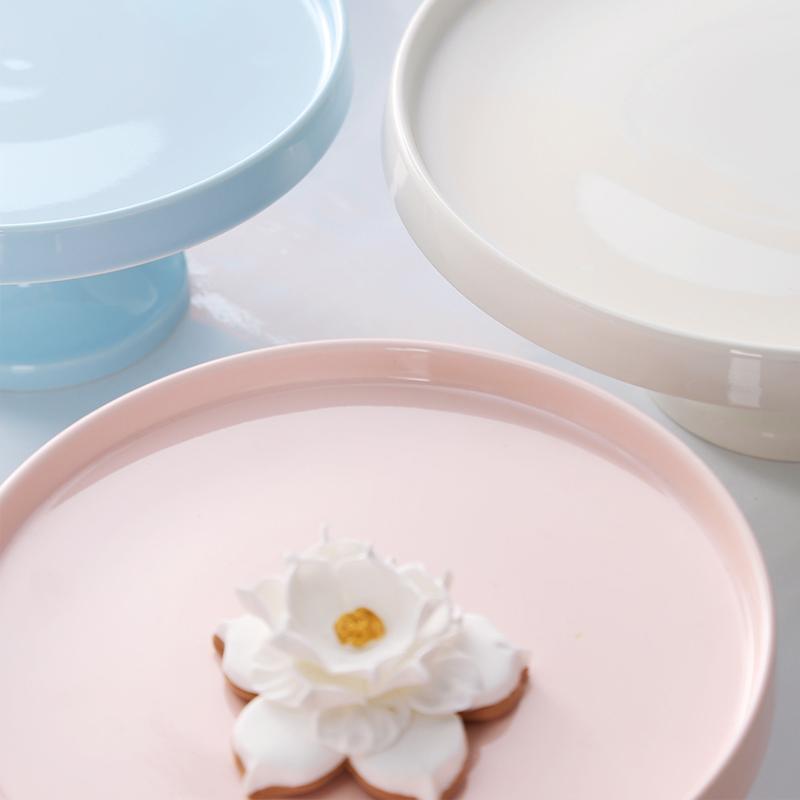Europäischer Hochzeit Keramik-Behälter für Kuchen Obst Dessert Tea For Home Kuchen-Speicher-Geburtstags-Party-Hotel mit Glasdeckel