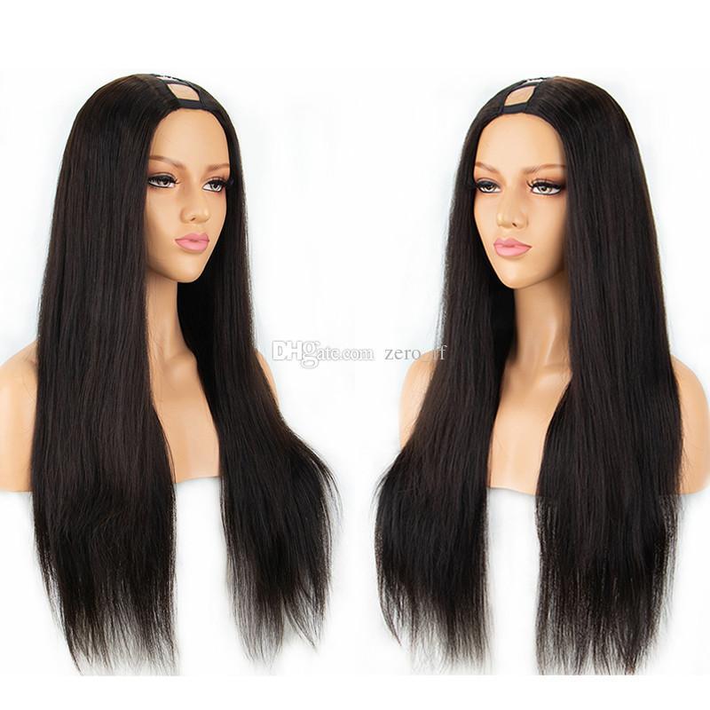 Cheveux Humains U Partie Perruques Soie Droite 100% Péruvienne Remy Perruque Milieu Partie Avec La Couleur Naturelle 130% 150% 180% Densité