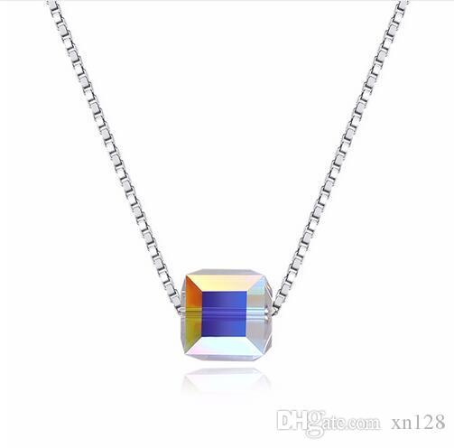 925 Kristall Swarovsk Elements Square Sterling Silber Halskette CZ Anhänger Halskette für Frauen Damen Liebhaber Valentinstag Geschenke
