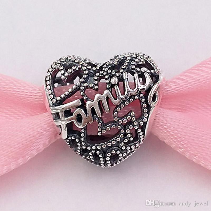 Authentic 925 Sterling Silver Perline Family Heart Charms Charms Adatto a Bracciali europei Bracciali in stile Pandora Collana 798571C00