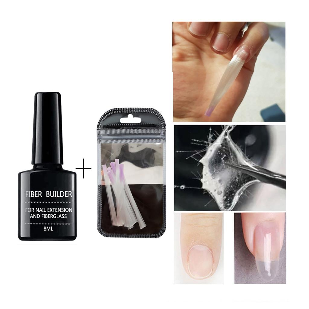 15pc Gel Extension Nail Care Fiberglass Silk Nails Wrap Stickers Fiber Builder Gel With Nail Extension Fiberglass Art Tools