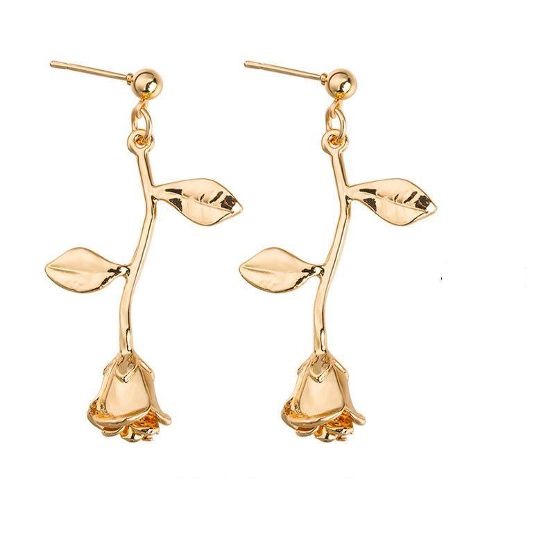 Alloy Rose Flower Earrings Gold Silver Rose Gold Colors Earrings for Women Flower Dangle Earrings Jewelry