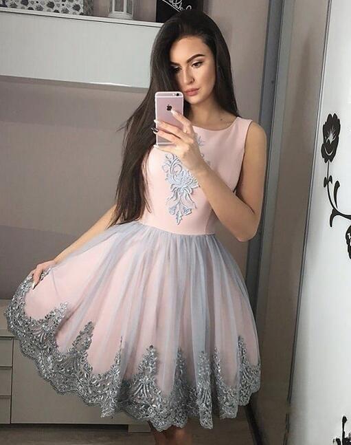 2019 robes de bal rose courtes élégante robe de soirée avec des appliques de dentelle ruban jupe en tulle froncé, robes de soirée pas cher robes de soirée