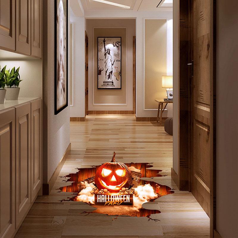 Хэллоуин 3D наклейки Посмотреть Scary тыквы Shaped окна Напольные наклейки Хэллоуин украшения Плакат ПВХ Съемная этикета для детей