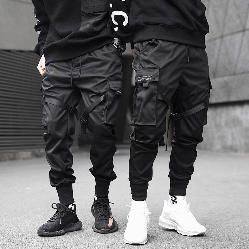 Pantalones de carga de bolsillo de los hombres cintas bloque del color Negro 2019 Harem Joggers Harajuku SWEATPANT Pantalones Hip Hop
