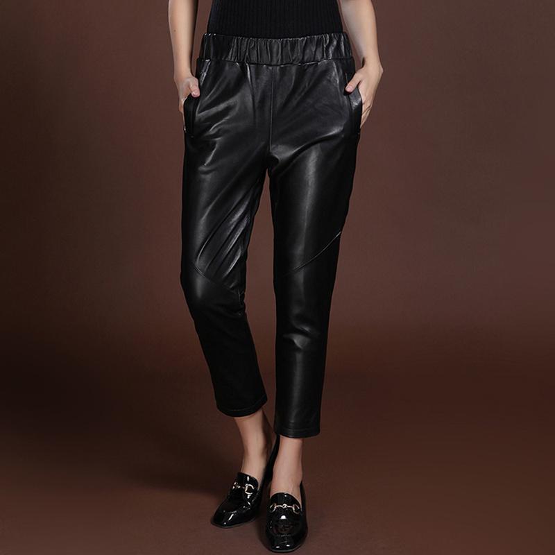 Женские брюки Каприз Кожаные ноги Женщины Брюки из овчины Стройная эластичная талия тонкий и большой размер гарема