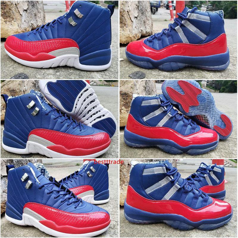 Nueva Jumpman 11 12 zapatos de baloncesto del Mens azules marinos de gimnasia rojas Entrenadores deportivos zapatillas de deporte 11s 12s diseñador zapatos deportivos Tamaño US7-13