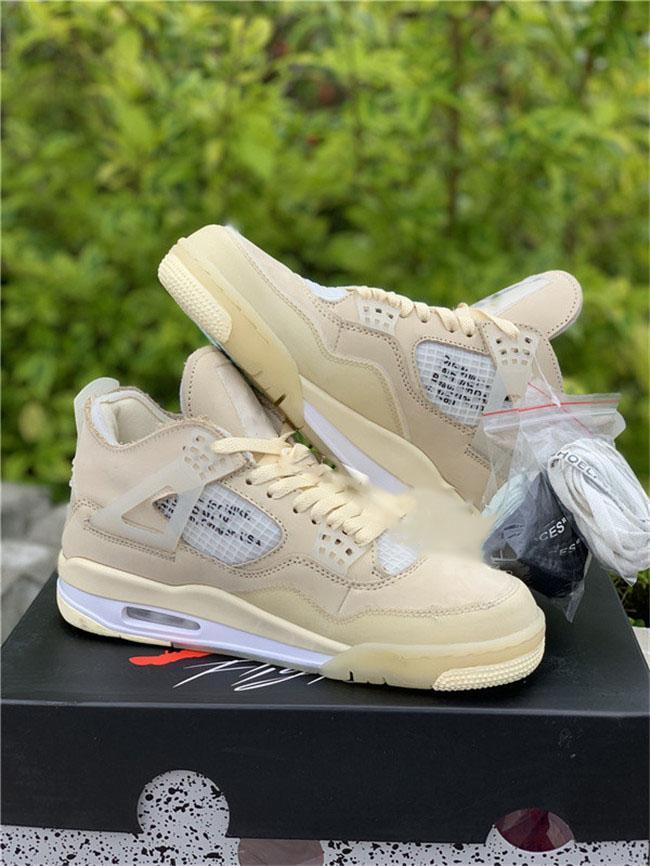 2020 nouveaux Authentic 4 SP WMNS Voile Bred 4S Homme Chaussures de basket-Mousseline Blanc Noir Chaussures Sneakers Avec boite d'origine