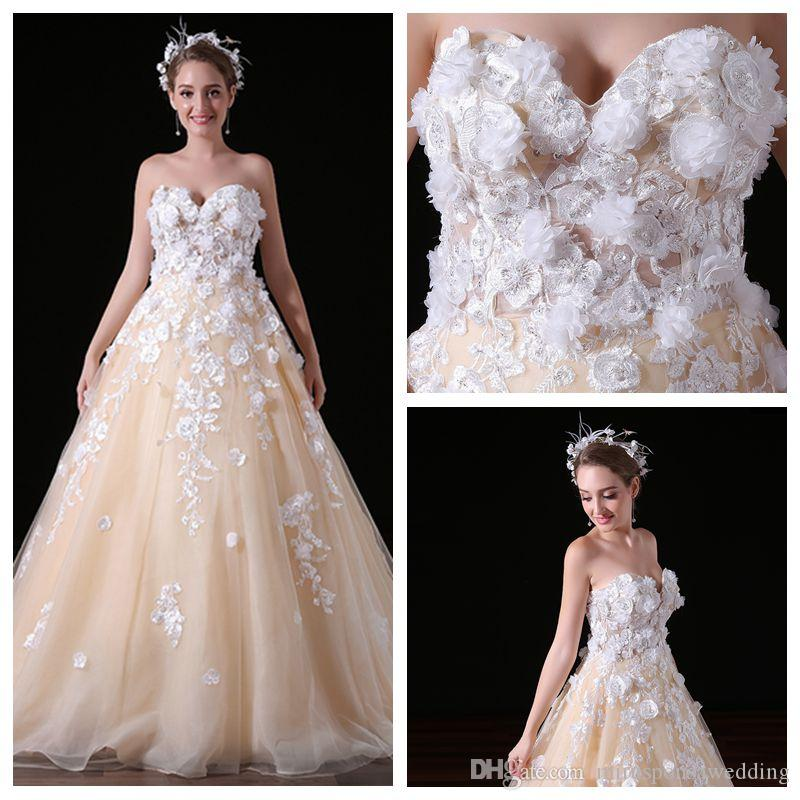 MA034 Sweetheart Tulle Colored Wedding Dresses with 3D Flowers Cute Wedding Dresses Lace Appliques Meerjungfrau Brautkleider