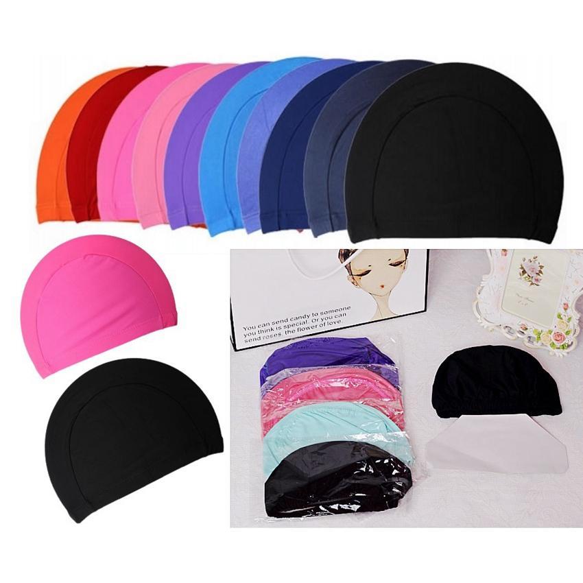 رجل كاندي الألوان السباحة قبعات للجنسين قبعات الاستحمام النايلون القماش الكبار السباحة قبعات للماء السباحة الصلبة قبعة LJJA3841
