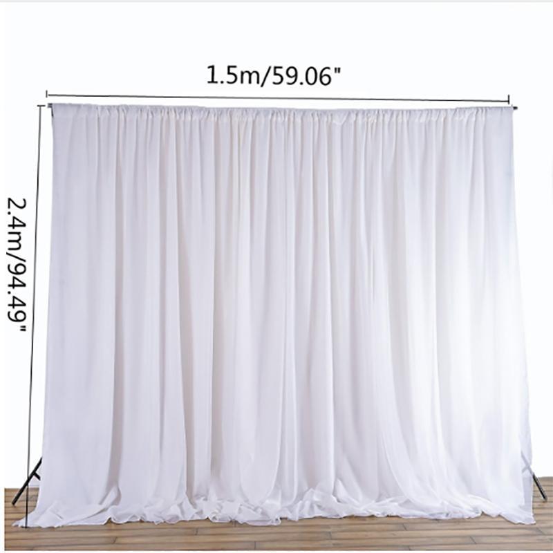 커튼 사진 배경막 웨딩 파티 이벤트 DIY 장식 섬유 2.4x1.5M 매달려 화이트 얇은 실크 천으로 커튼 패널