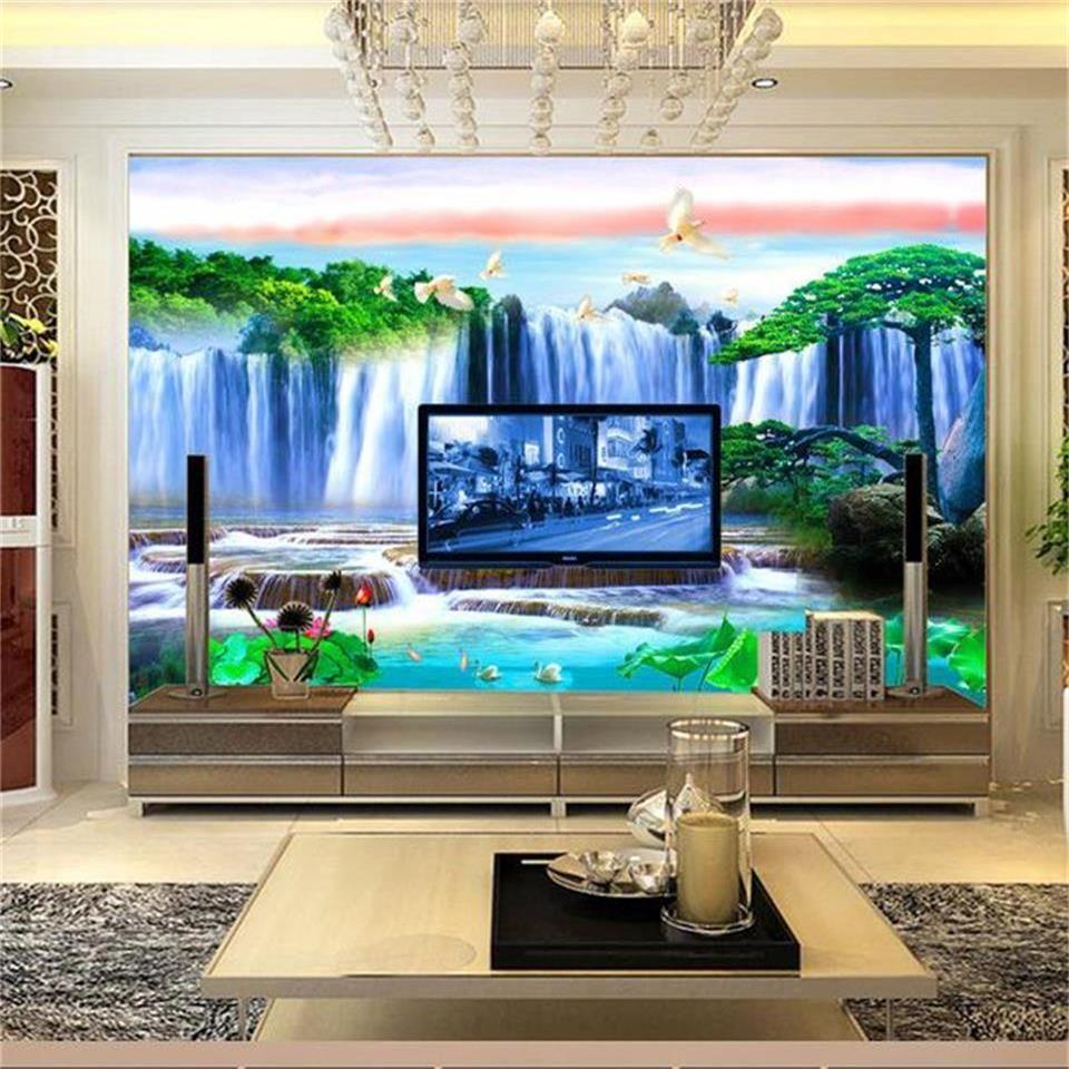 Tamaño personalizado foto 3d papel tapiz sala de estar mural cisne loto lago paisaje imagen sofá TV telón de fondo papel tapiz no tejido etiqueta de la pared