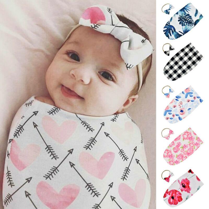 UK Newborn Baby Infant Swaddle Wrap Blanket Sleeping Bag Sleepsack Headnband//Hat