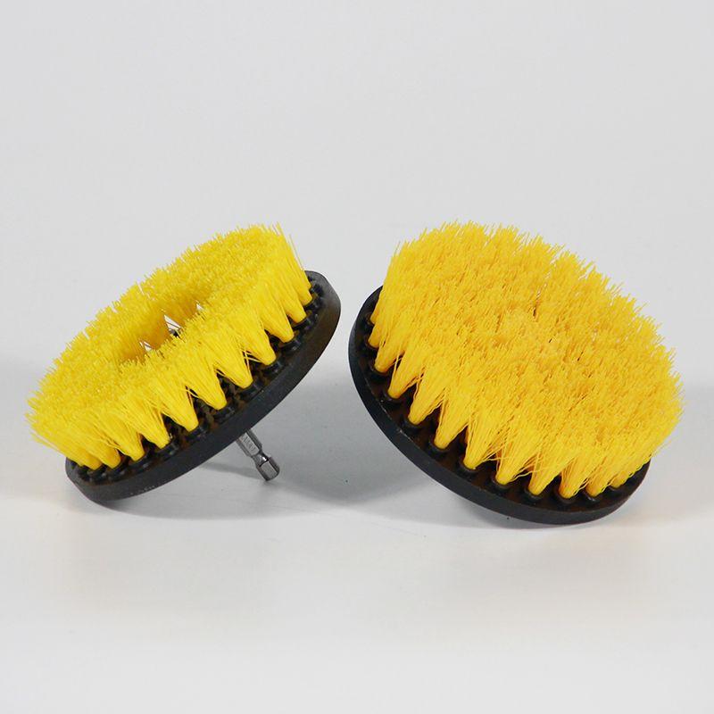 Cepillo de taladro amarillo de 2 piezas de 5 pulgadas Cepillo de taladro Power Scrub Cepillo limpio utilizado en taladro eléctrico para alfombra Sofá Cuero Plástico Madera
