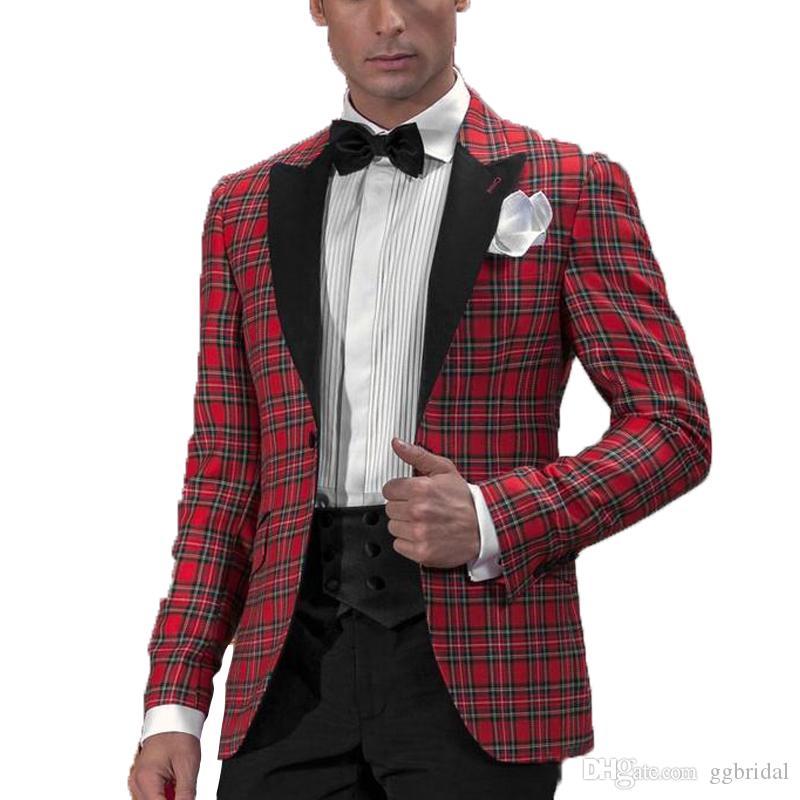 2019 красный плед формальный партийный костюм для мужчин Blazer + брюки на заказ Groom Tuxedos Groomsmen костюм для свадьбы