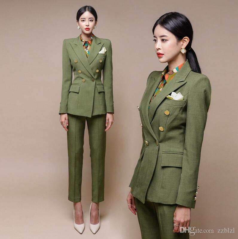 2021 Korean Army Green Professional Womens Autumn And Winter Office Lady  Western British Style Suit Fashion Two Piece Jacket+Pants From Zzblzl,  $45.09   DHgate.Com